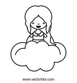 line woman with long hair and blouse in the cloud