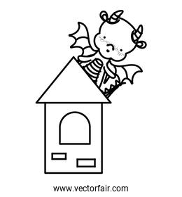 line cute dragon with wings in the medieval tower