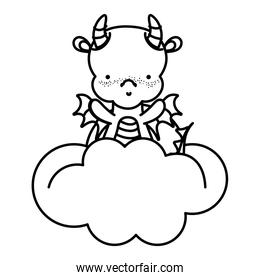 line cute dragon with horns and wings in the clouds