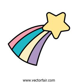 color natural sperkly shooting star with rainbow