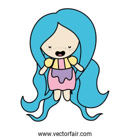 color woman with long hairstyle and clothes design