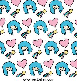 color woman head with heart and shooting star background