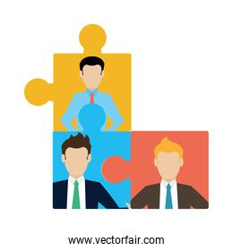 game puzzle pieces with businessmen success