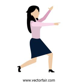 elegant businesswoman corporate with hand up