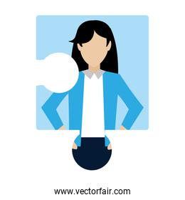puzzle piece with professional businesswoman corporate
