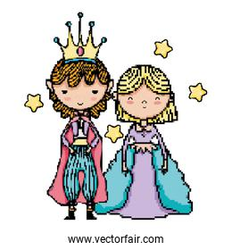 pixel princess and prince together with stars