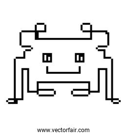 line pixel videogame digital character icon