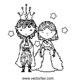 line pixel princess and prince together with stars