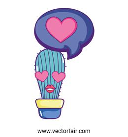 kawaii cactus plant with heart inside chat bubble