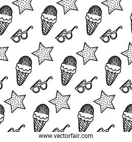 line star with ice cream and glasses background