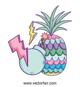 tropical pineapple fruit with thunders and bomb