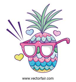 tropical pineapple fruit with glasses and hearts