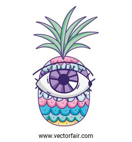 tropical pineapple fruit with eye expression