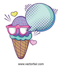 ice cream with glasses and chat bubbles