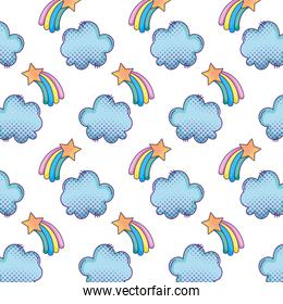 shooting star with rainbow and cloud background