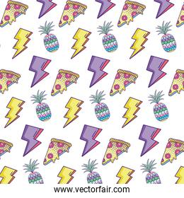 thunders with pineapple and pizza food background