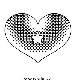 line heart love symbol with star decoration