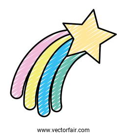 doodle shooting star with rainbow style in the sky