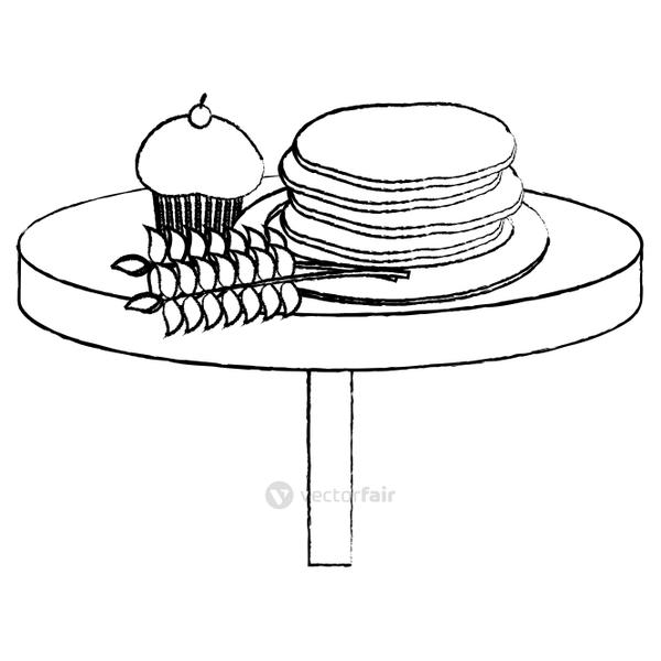 grunge tasty waffles and muffin with wheat plant in the table