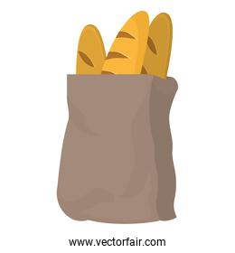 tasty french breads food in the bag