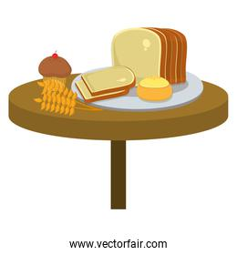 slice bread with roll and muffin in the table