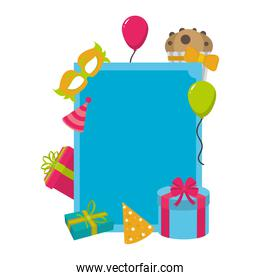 emblem decoration with birthday party things