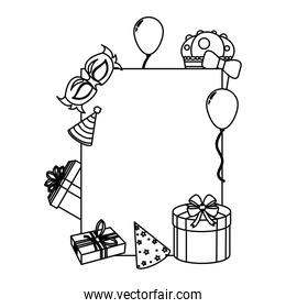 line emblem decoration with birthday party things