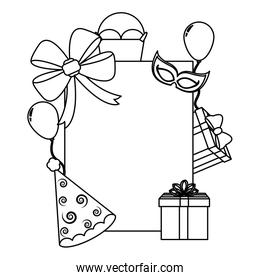 line emblem style with birthday party decoration