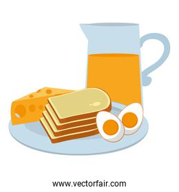 fried eggs with bread and juice breakfast