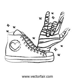 grunge fashion sneaker with hand with rock sign
