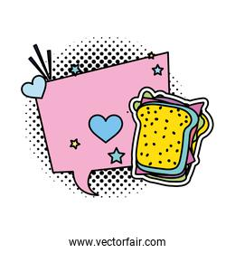 color chat bubble message with sandwich and patch decoration