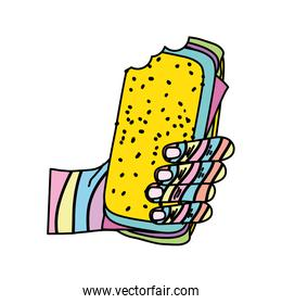 color fashion hand with tasty sandwich snack