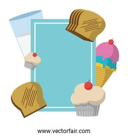 emblem style with ice cream and breads