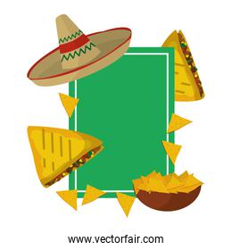 emblem with traditional and delicious mexican food