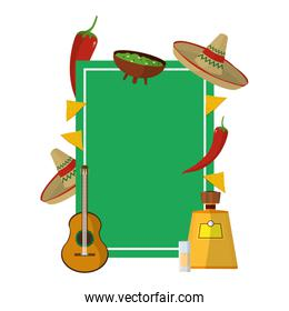 emblem with traditional mexican food and accessories