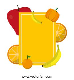 emblem with delicious fruits and organic vegetable