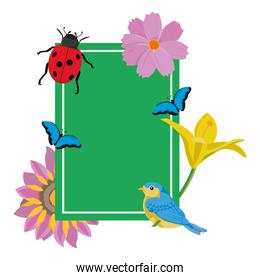 emblem design with tropical flowers and animals