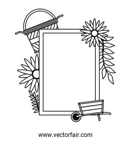 line emblem decoration with garden tool and flowers
