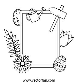 line emblem with spring activities and flowers decoration