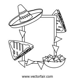 line emblem with traditional and delicious mexican food