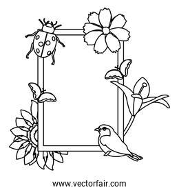 line emblem design with tropical flowers and animals