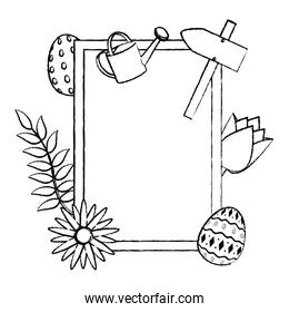 grunge emblem with spring activities and flowers decoration