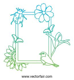 degraded line emblem design with tropical flowers and animals