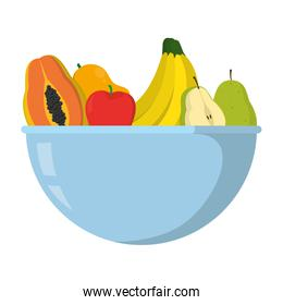 delicious organic fruits nutrition in the bowl