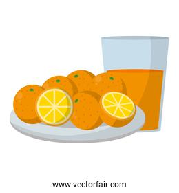 delicious oranges fruits in the plate and juice glass
