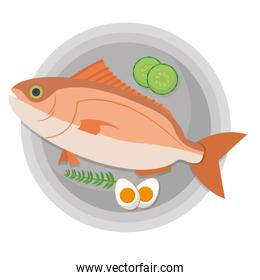 fish food with eggs and vegetables in the plate