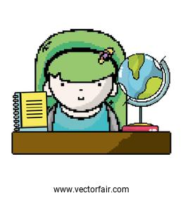 woman student in the desk with global map and notebook