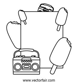 line emblem with ice lolly and radio object