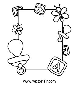 line emblem invitation to baby shower party