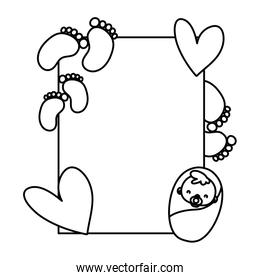line emblem card to cute baby shower